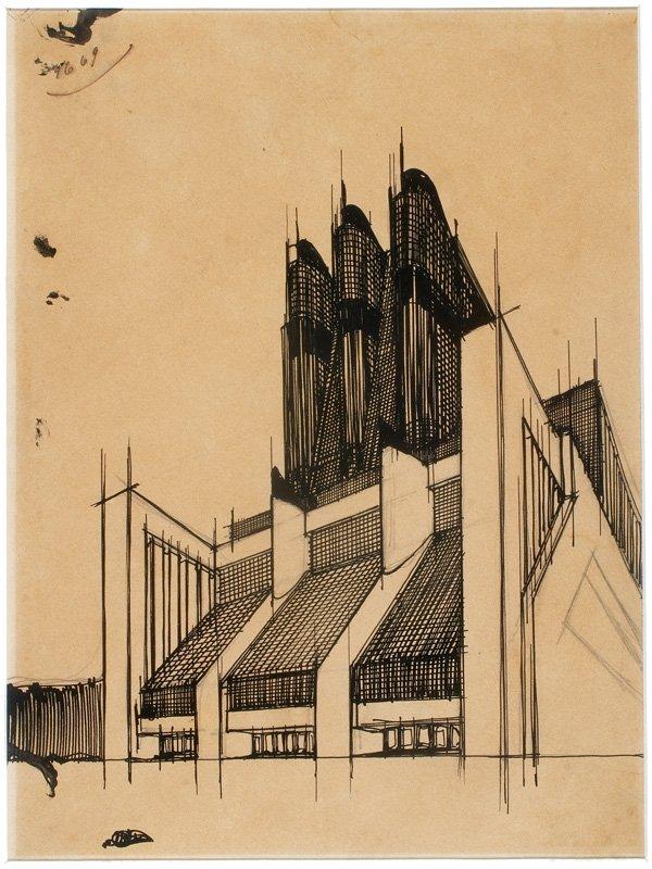 Edificio con vetrate inclinate in facciata opere di for Architetto sant elia